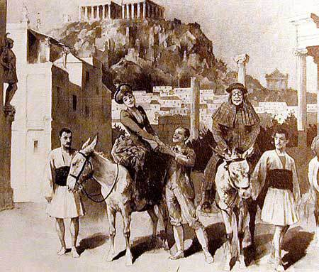 Touristen in Athen 1860