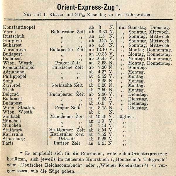 Orient Express Fahrplan