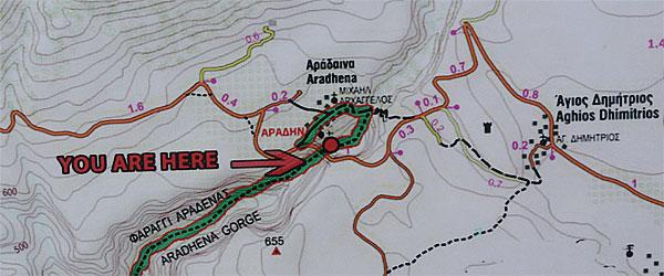 Aradhena Schlucht Karte